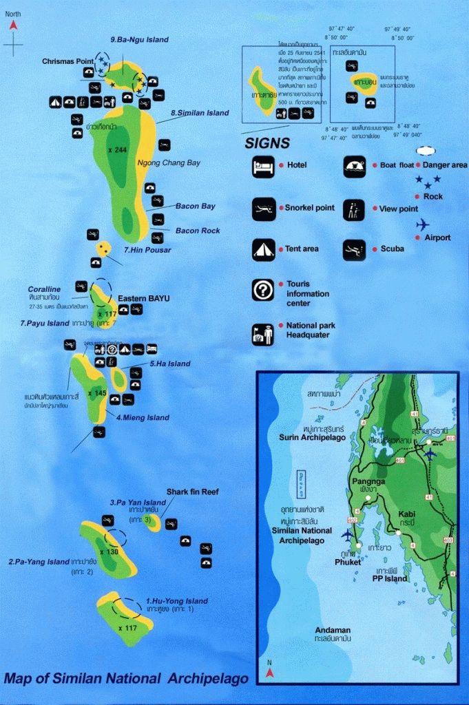 симиланские острова - карта