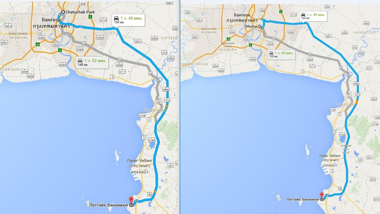 Как добраться из Бангкока до Паттайи автобусом
