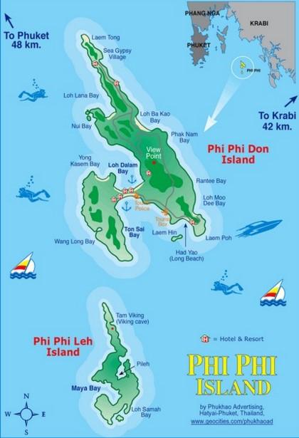 Карта островов Пхи-Пхи
