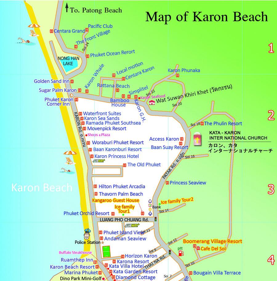 Карта пляжа Карон на Пхукете