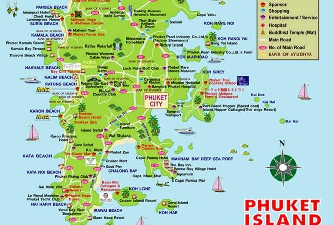 Карта Пхукета на русском языке с отелями