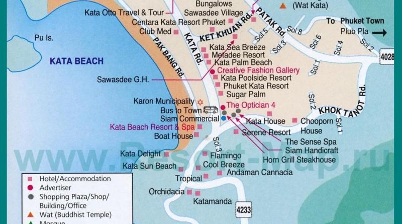 Карта пляжа Ката