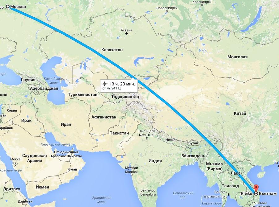 Сколько лететь до Вьетнама из Москвы - карта