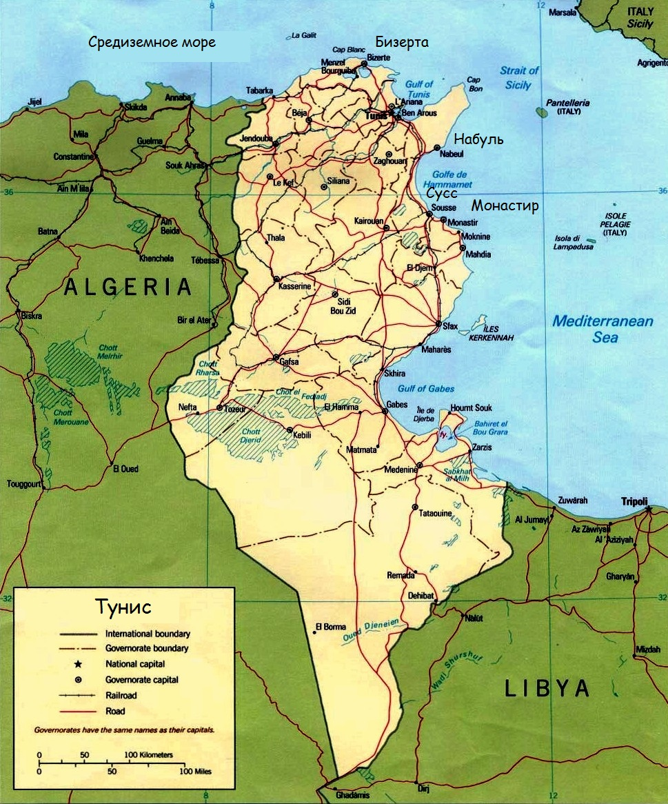 курорты Туниса на карте