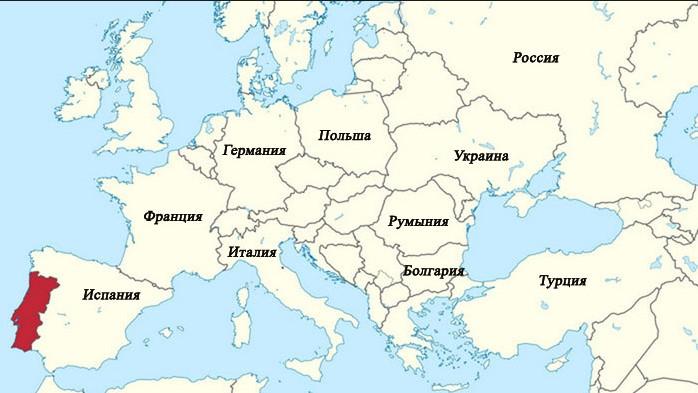 Где находится Португалия на карте мира