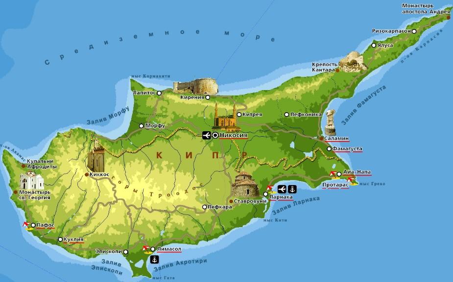 Средиземное море Кипра (карта)