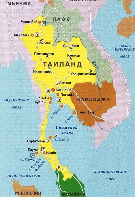 Таиланд море или океан - карта