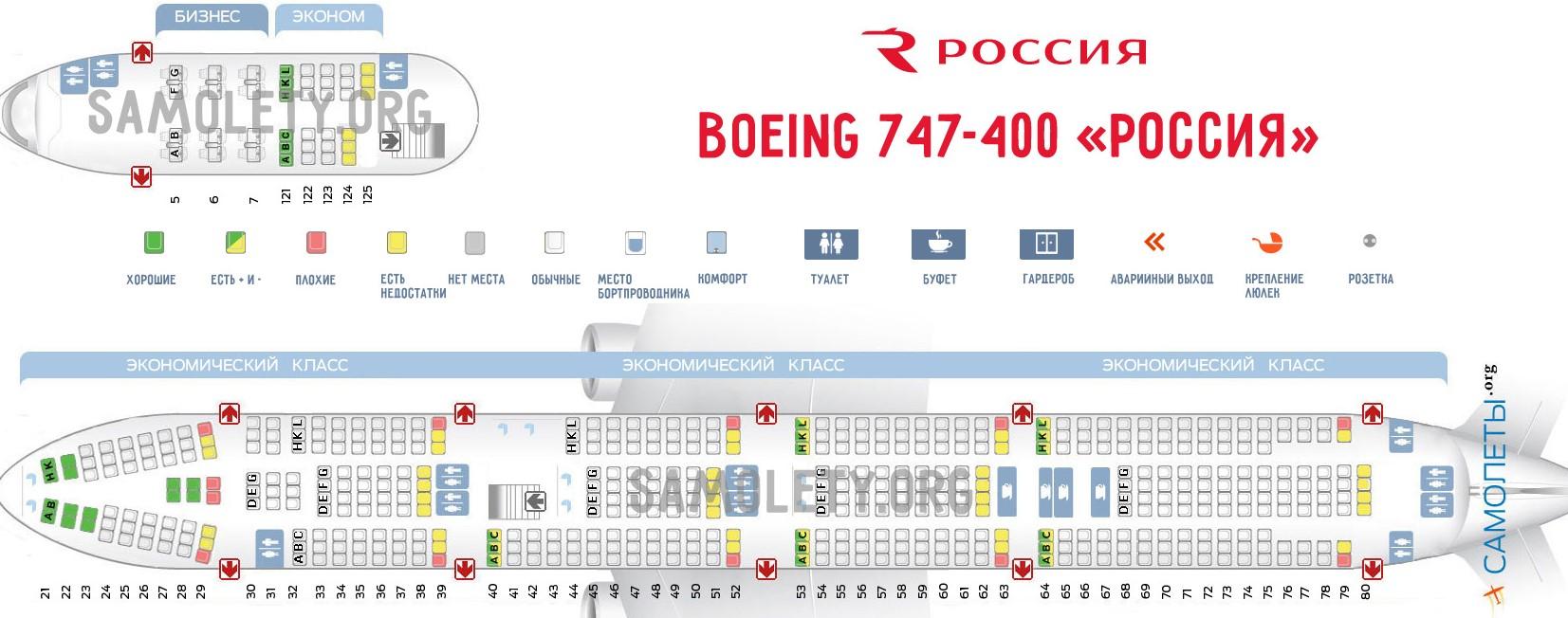 Боинг 747-400 - Россия: схема салона