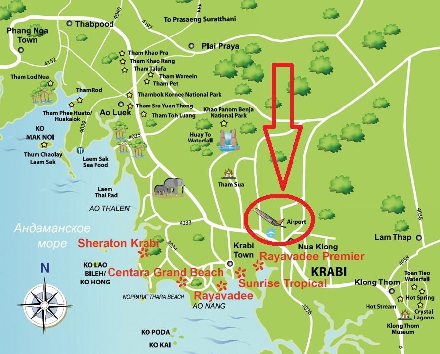 Аэропорт Краби на карте