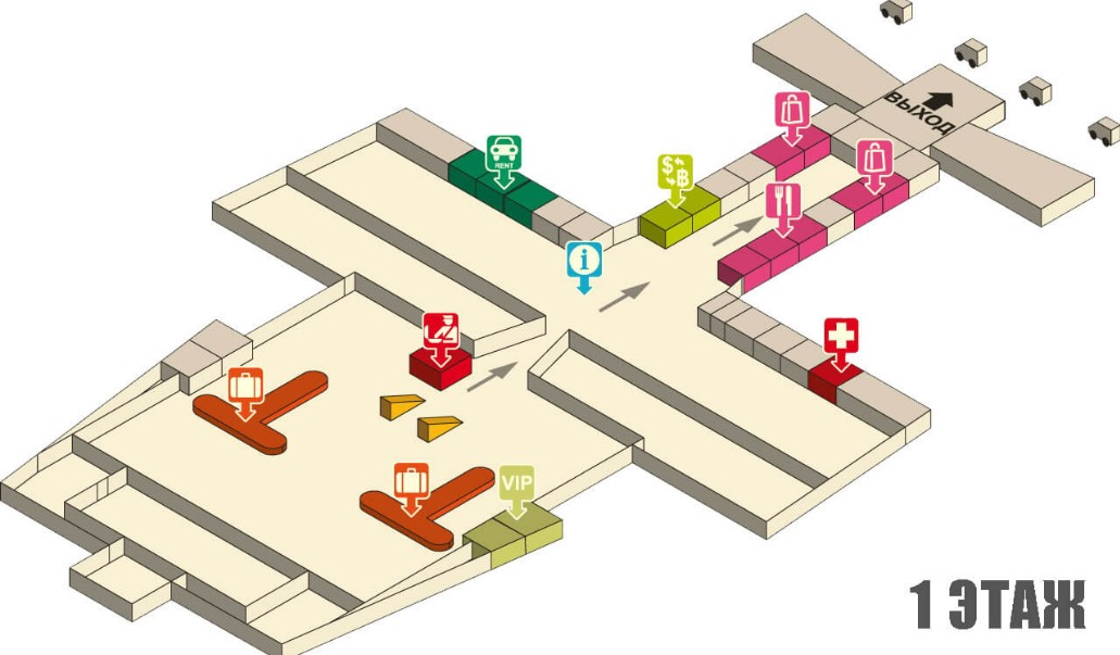 Схема аэропорта Краби - первый этаж