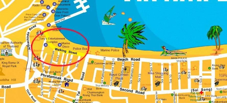 Волкин Стрит на карте в Паттайе