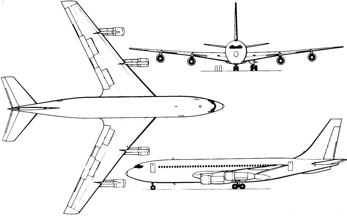 Boeing 707 - схема самолета