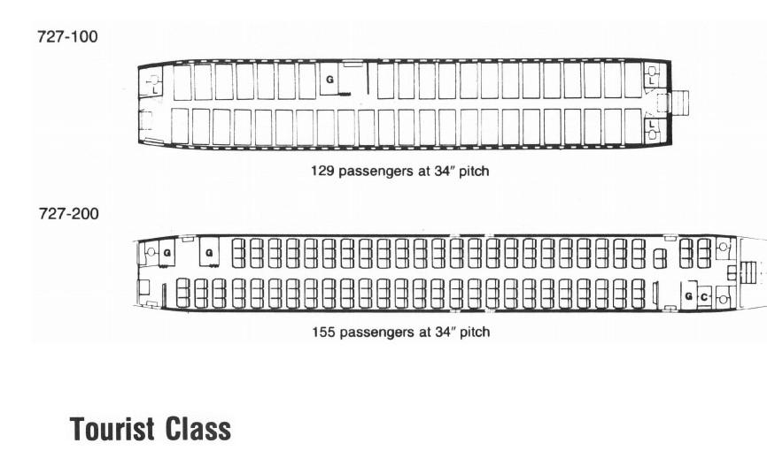 Boeing 727 - 100,200 - схема салона (класс туризм)