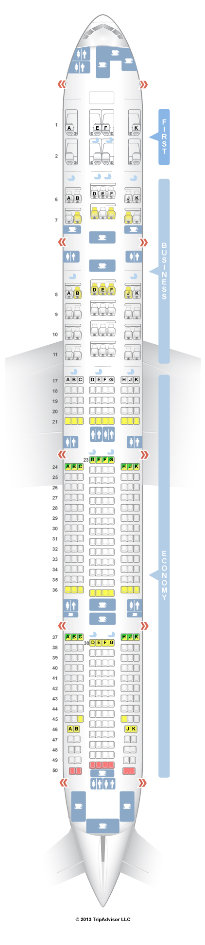 Boeing 777-300 - схема салона