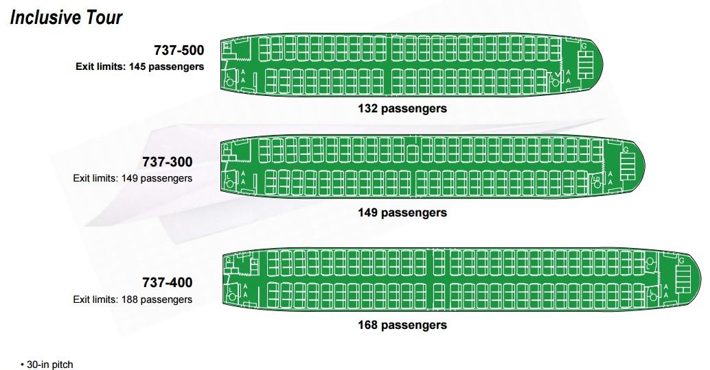 Boeing 737 400 - схема салона