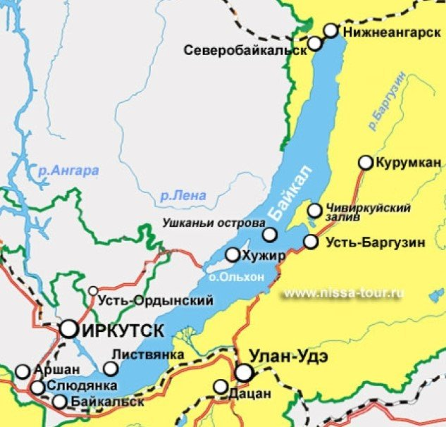 Где находится озеро Байкал на карте