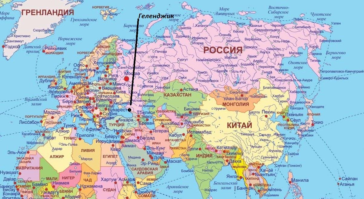 Город Геленджик на карте России