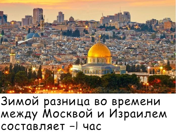 Разница во времени между Москвой и Израилем