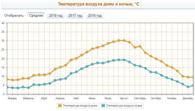 Температура воздуха днем и ночью, °C