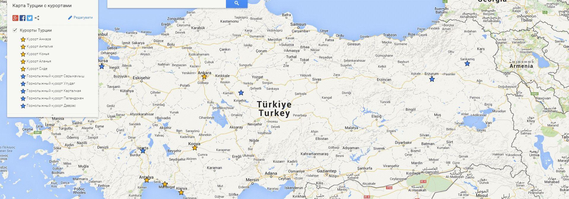 подробная Карта Турции с курортами