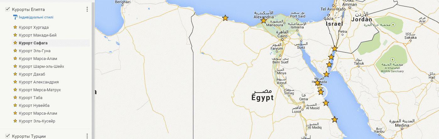 Курорты Египта на карте фото