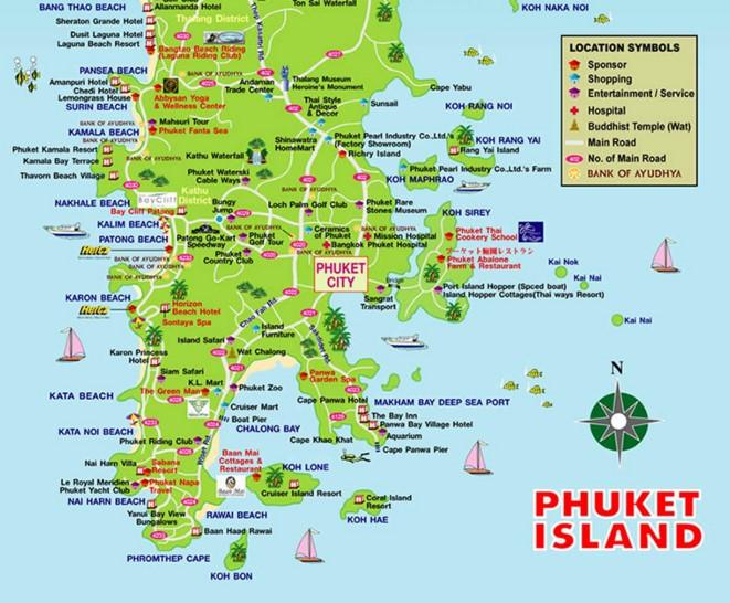 Карта Пхукета фото