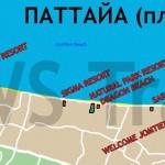 Карта Джомтьена с отелями