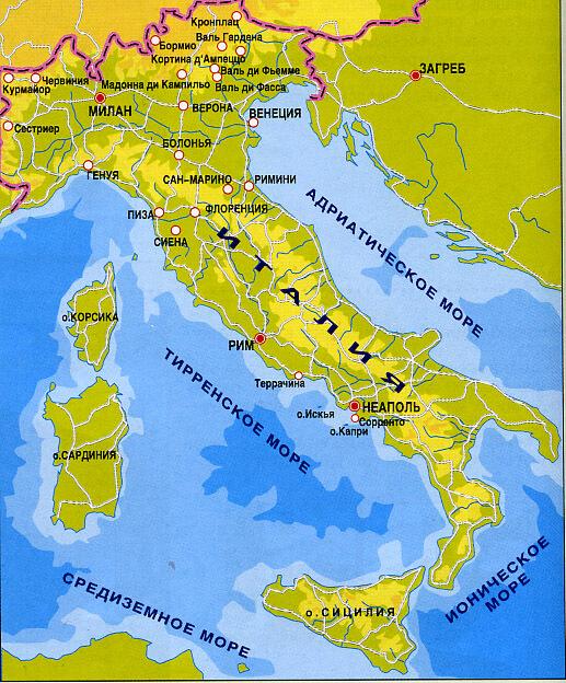 Какие моря омывают Италию фото