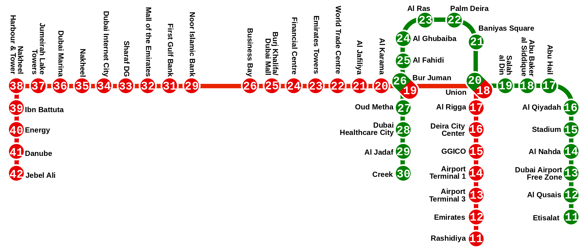 метро дубай на карте со станциями метро